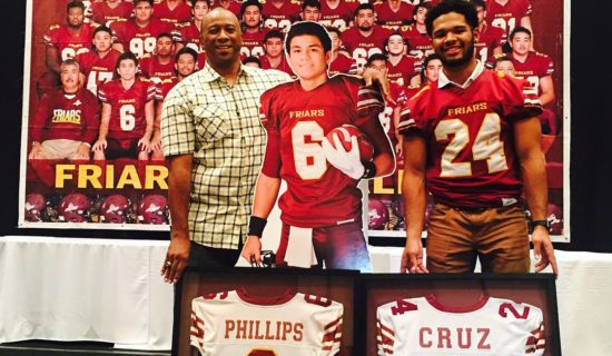 FRIARS RETIRE CRUZ & PHILLIPS FOOTBALL JERSEYS